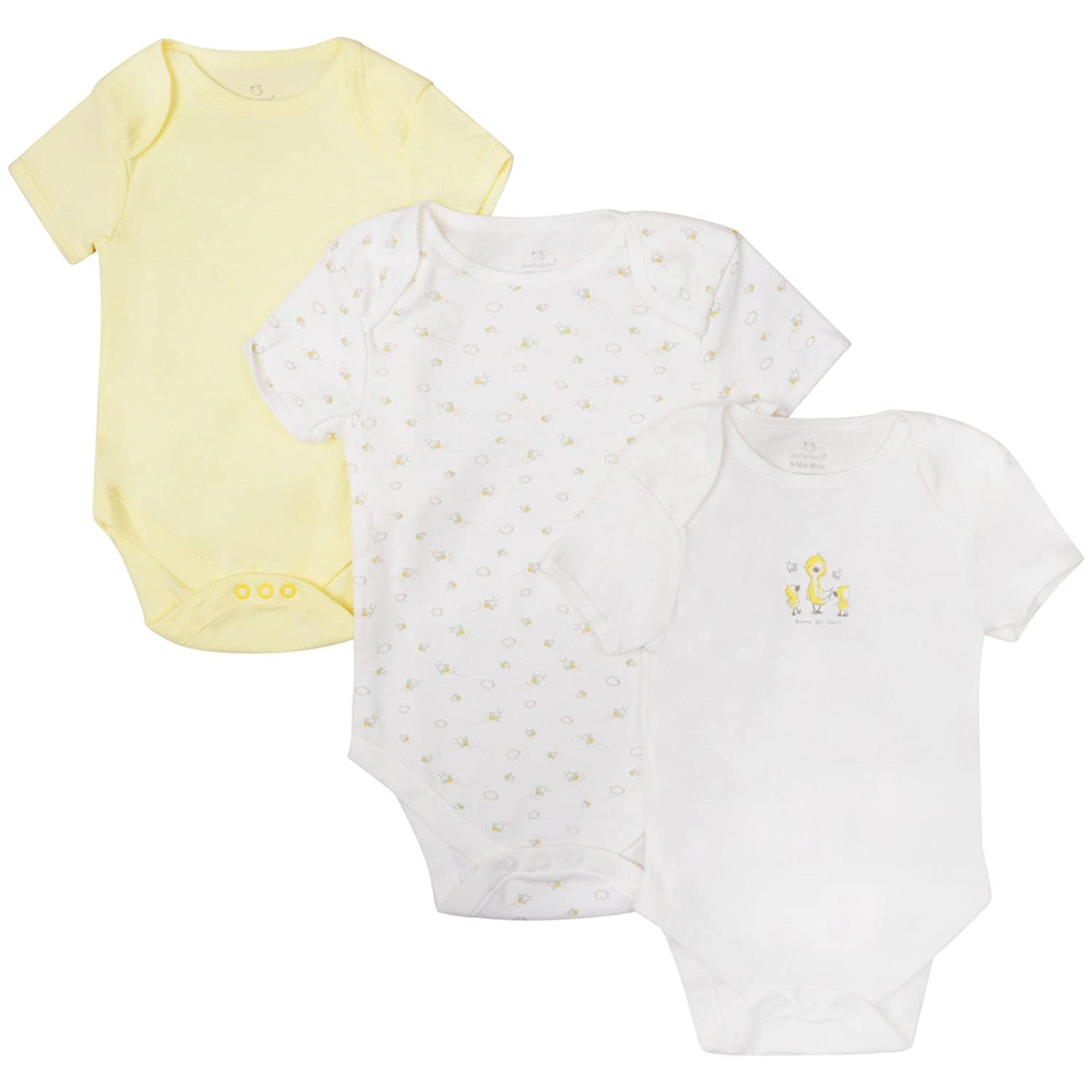 Ex UK Store Baby 3 Pack Body Suits Boys Girls Short Sleeve Ex Store Lemon Cream Vests