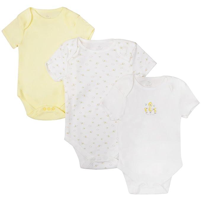 04135d75d Ex UK Store Baby 3 Pack Body Suits Boys Girls Short Sleeve Ex Store Lemon  Cream Vests: Amazon.co.uk: Clothing
