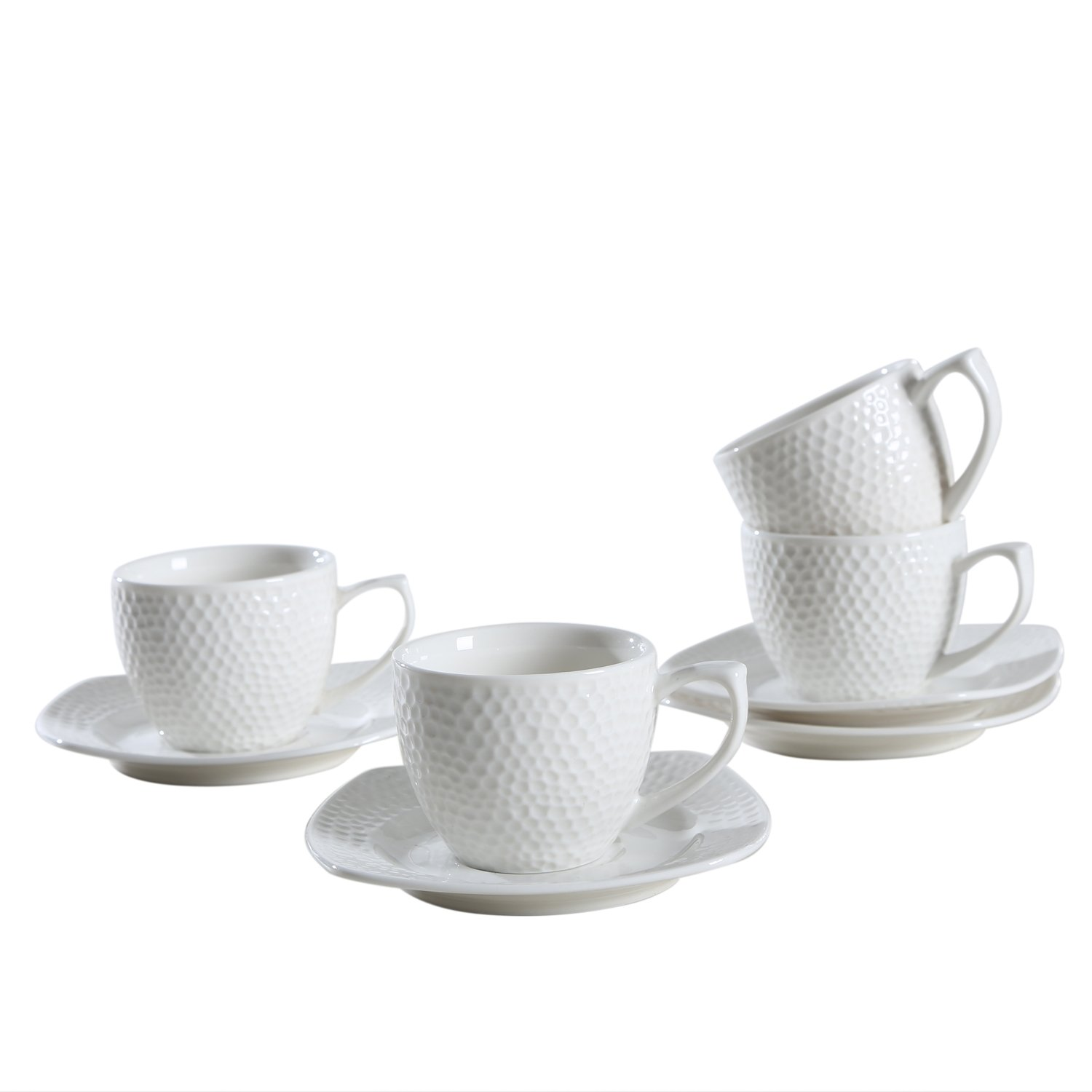 SOLECASA ''3-OZ/Set of 4'' Porcelain/Ceramic Espresso Cup and Saucer Set,White-Great as Holiday Gift/Present