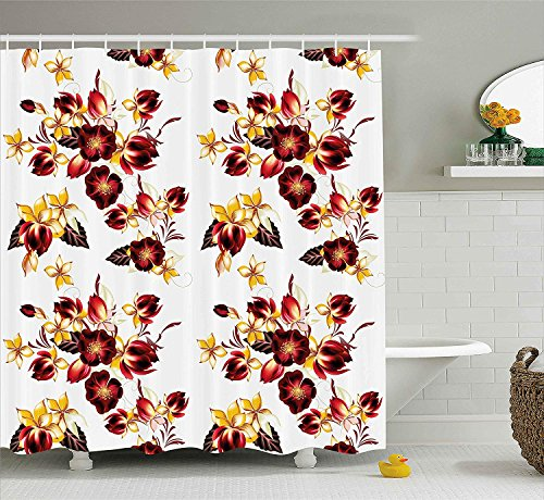 (Flowers Shower Curtain Floral Decor Seamless Wallpaper Pattern with Flowers Decorative Design Print Fabric Bathroom Decor Set with Hooks Extra Long Burgundy Yellow 60