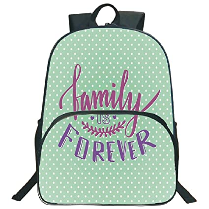 "d65ec9fbb Family 3D Print 16"" Backpacks,Classical Polka Dots Background Creative  Lettering Quote About Family"