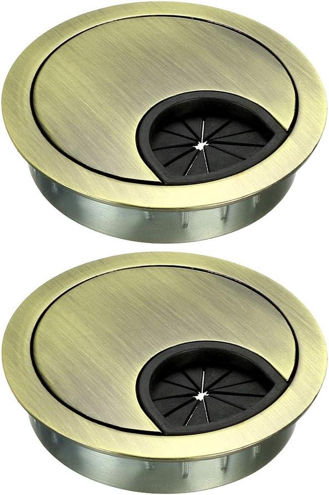 "uxcell Cable Hole Cover, 2-1/8"" Zinc Alloy Desk Grommet for Wire Organizer, 2 Pcs (Bronze Tone)"