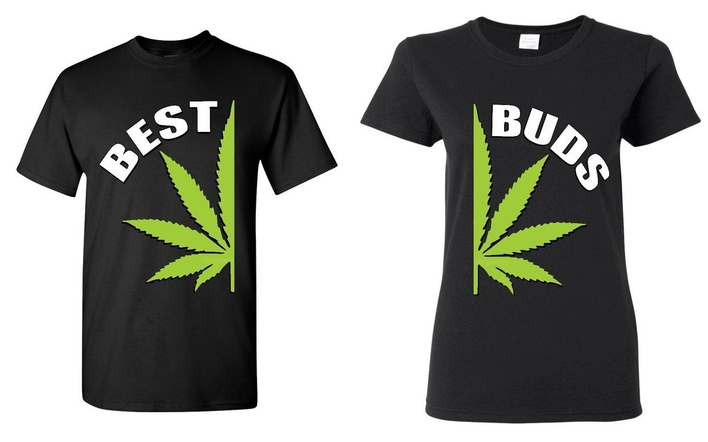 Shop4Ever Best Buds Pot Leaf Marijuana Weed Matching T-Shirts