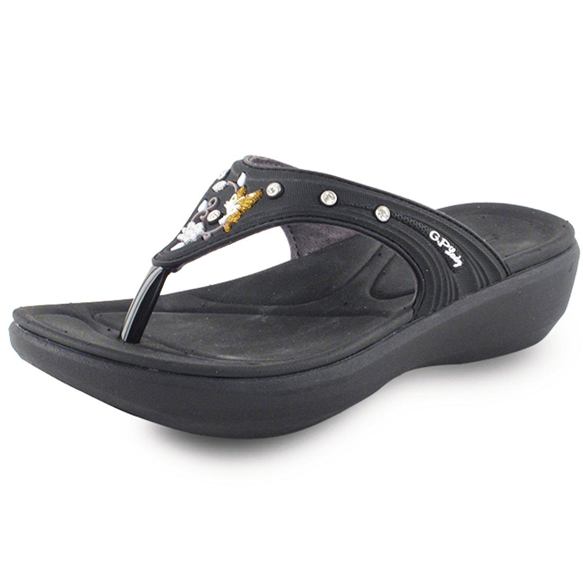 Gold Pigeon Shoes GP7530W Women Padded Flip Flop: Black, EU39