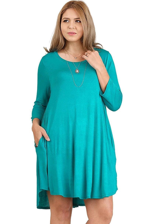 46e327d65c5 Umgee Boho Chic Scalloped Hem T-Shirt Dress reg   Plus Size 1621 ...