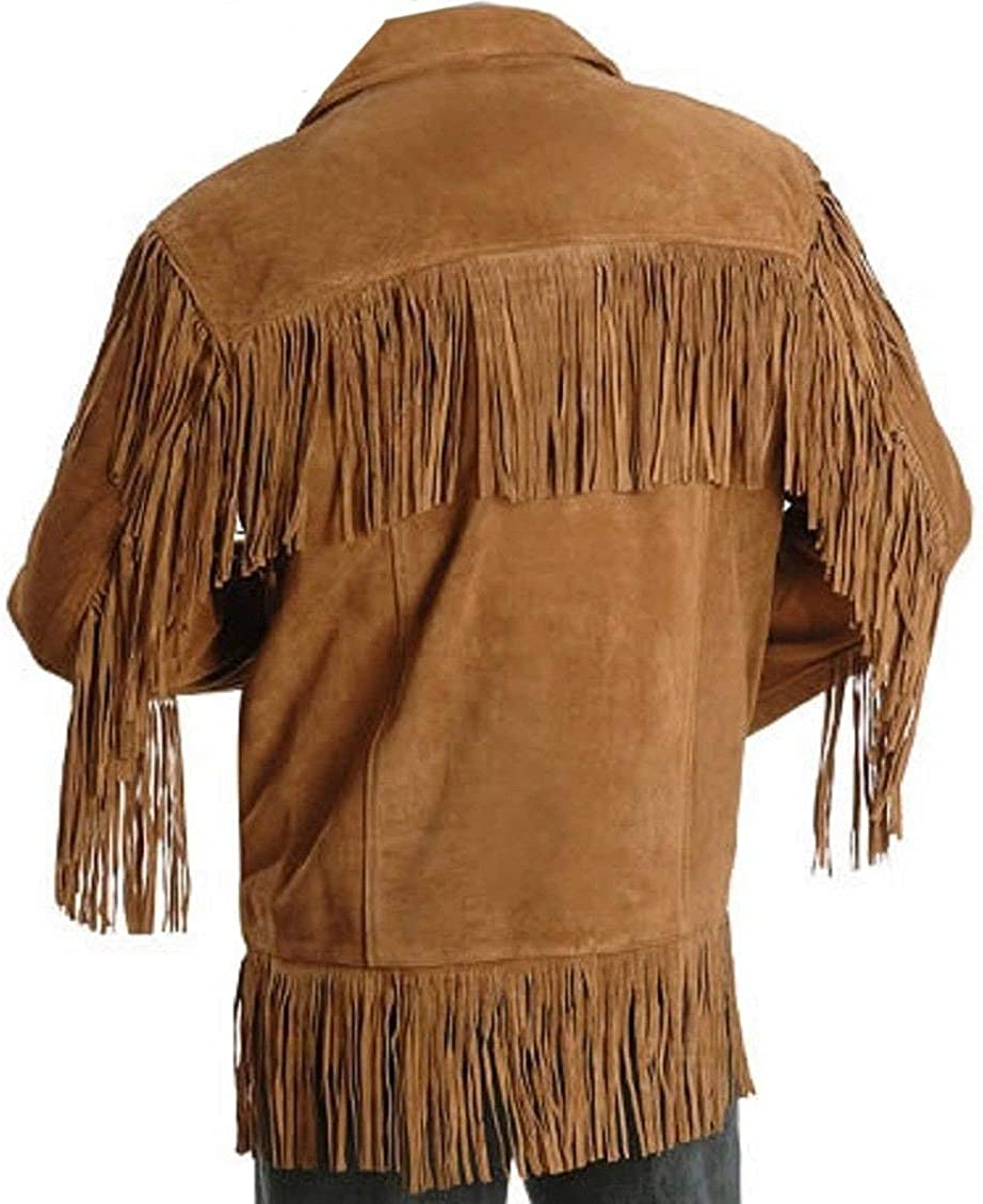 LEATHERAY Mens Western Cowboy Brown Suede Leather Jacket with Fringes XS-5XL