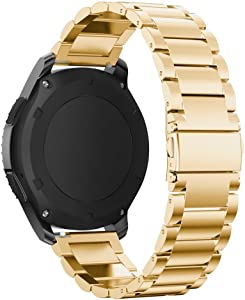 Omter for Samsung Gear S3 Frontier / Classic Band / Galaxy Watch 46mm Band,22mm Men Women XL and S Adjustable Size Premium Stainless Steel Watch Bands Link Bracelet Strap (Steel Gold)