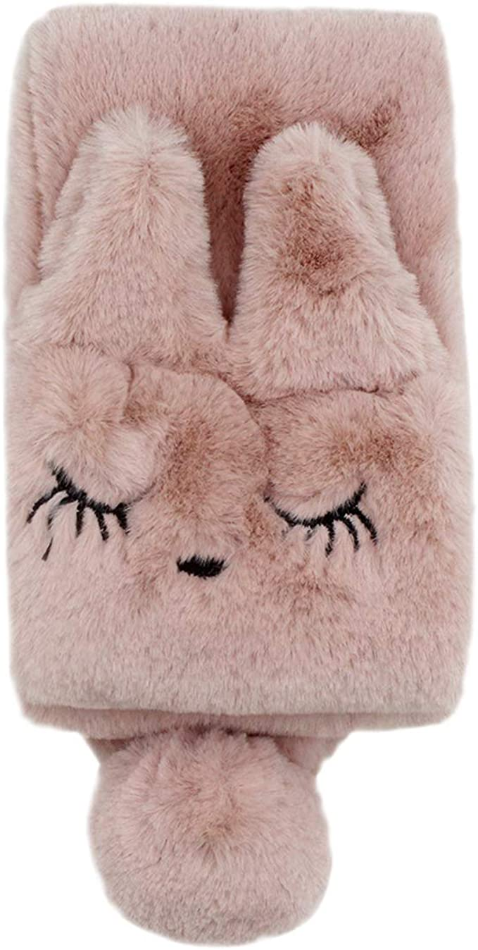 Winter Animal Cat Face Loop Scarf Windproof Shawl Fluffy Plush Neck Warmer for Toddler Baby Girls Boys