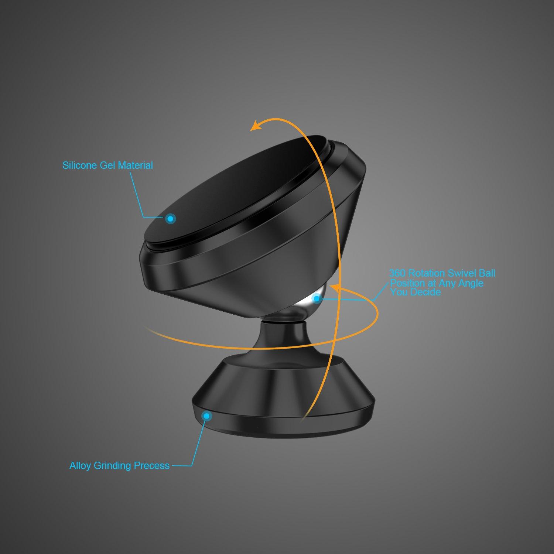 CHOETECH KFZ Magnethalterung Armaturenbrett-Tisch magnetischer Handyhalter 360 Grad drehbare Multifunktion Halterung f/ür iPhone Samsung HTC und mehr Nexus Auto Handyhalterung Moto LG schwarz