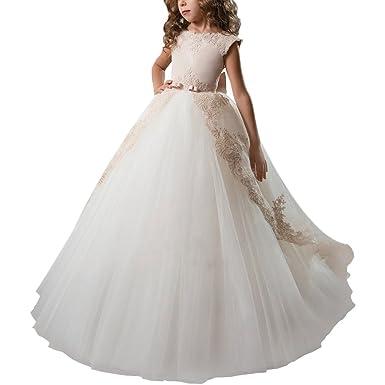 3e51568e9e73f Amazon.com: IMEKIS Flower Girls Stain Lace Tulle Dress Kids Princess ...