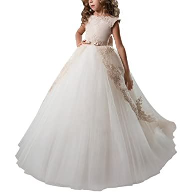 OBEEII Kid Girl Lace Flower Floor Length Tutu Dress Dance Pageant Formal Wedding Evening Communion Maxi
