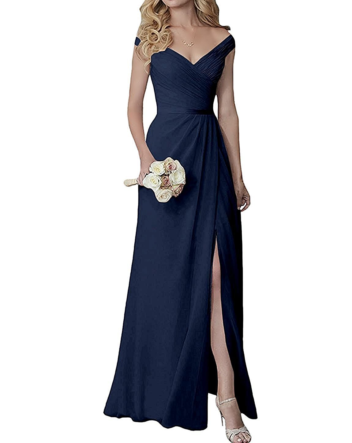 Off The Shoulder Bridesmaid Dresses Long V Neck Split Chiffon Prom Evening Gowns