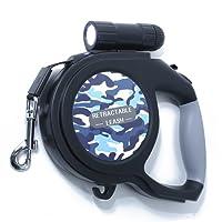 Dog Leash - 15ft One Button Break & Lock Retractable Dog Leash,With a LED Flashlight & Garbage Bags,Black - [ DAGO-Mart Quality Guarantee ]
