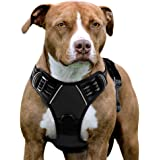 Eagloo No Pull Dog Harness with Front Clip, Walking Pet Harness with 2 Metal Ring & Handle Reflective Oxford Padded Soft Vest for Small Medium Large Breed (Black, L)
