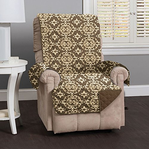 Kingston Collection Deluxe Reversible Stain Resistant Furniture Protector with Beautiful Printed Pattern. Includes Adjustable Straps. By Home Fashion Designs Brand. (Recliner, Chocolate) (Furniture Kingston)