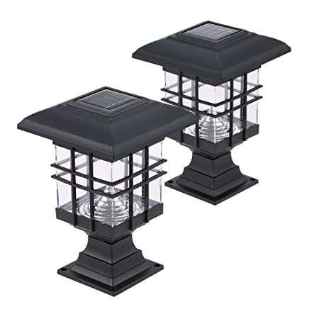 Walmeck Tomshine 0.2 W 2 Pack Solar Powered LED Garden Yard Bollard Pillar Light Lawn Lamp 2-in-1 Outdoor Landscape Auto On/Off Post Lamp Water Resistant
