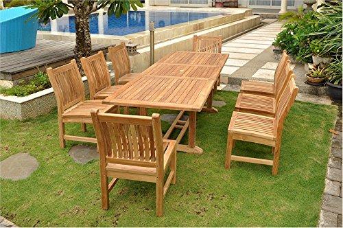 Anderson Teak Set-81 - No Cushion Rectangular Extension Table & Sahara Dining Chair Set, 8'