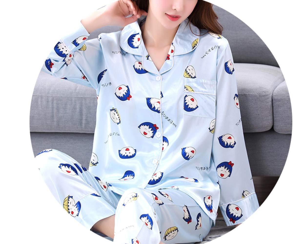 D XXL Tracksuit Pyjama en Soie à Manches Longues, Costume De Les Les dames en Soie Climatisé à Deux Pièces