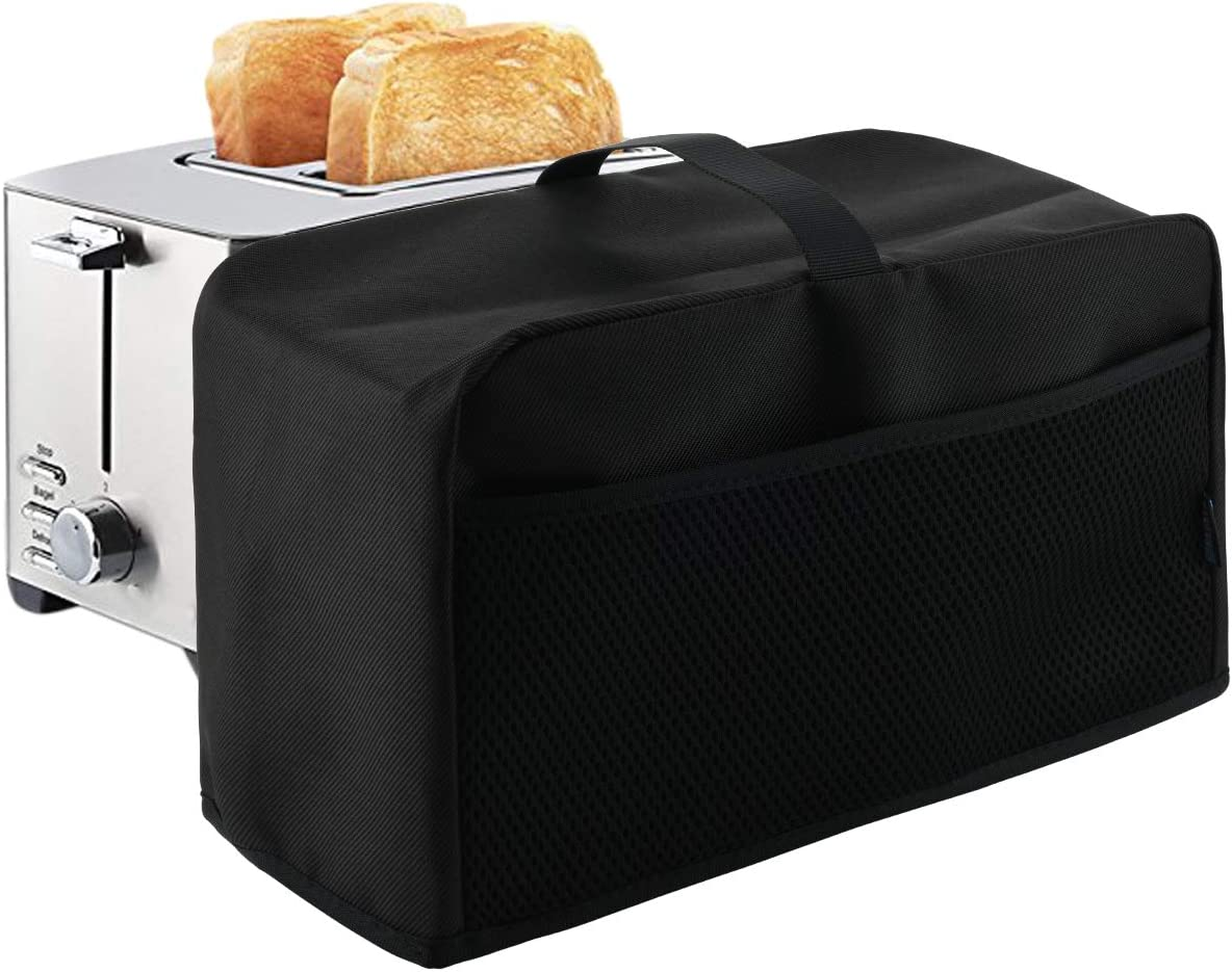 Black Color Splash Proof Nylon 2 Slice Toaster Appliance Dust-proof Cover, Foldable and Washable Dust and Fingerprint Protection with Mesh Pockets