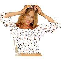 Camisas Camiseta de Manga Larga para Mujer Blusa Casual con Hombros Descubiertos