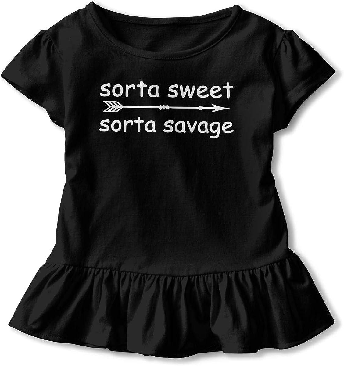 Zi7J9q-0 Short-Sleeve Sorta Sweet Sorta Savage T-Shirts for Kids 2-6T Ruffled Tunic Tops with Falbala