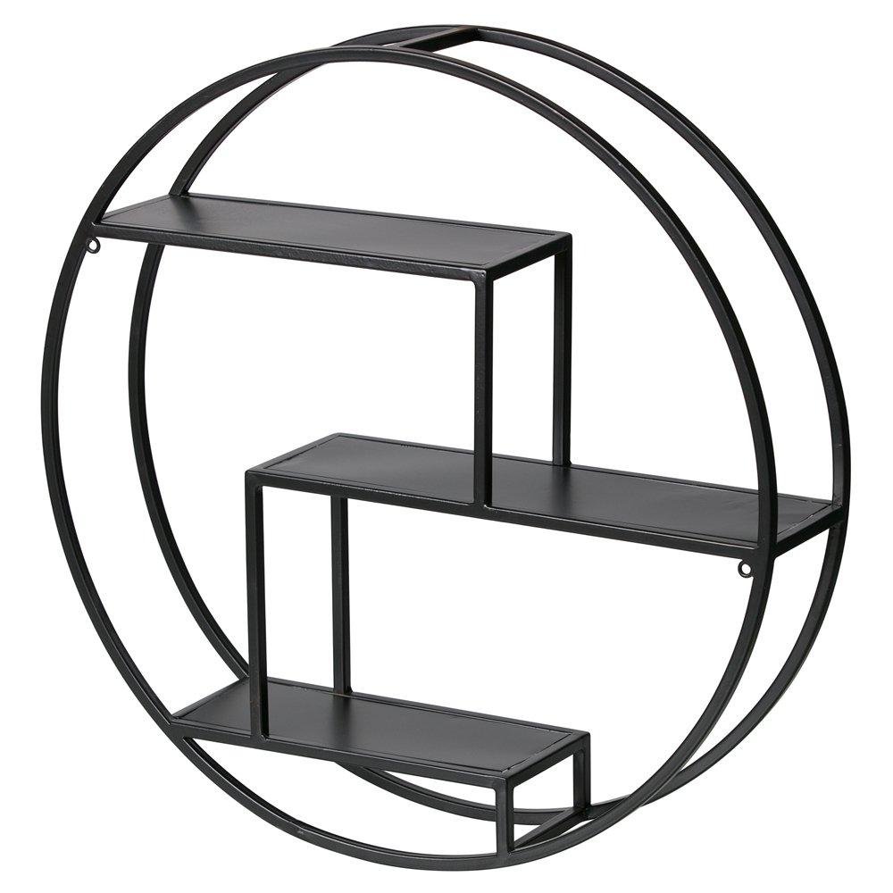 Wandregal PEET rund /Ø 60 cm Metall schwarz Ablageregal Aufbewahrung Regal