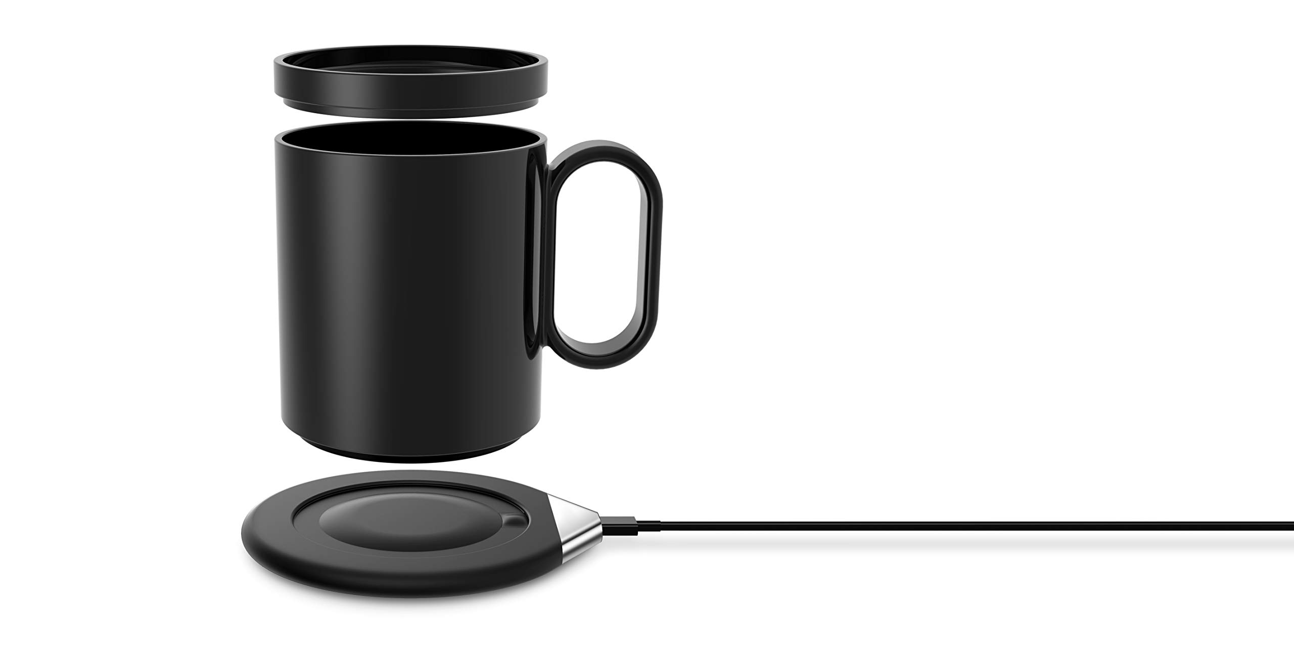 Coffee Mug Warmer,ROTEK Wireless Charger Heating Warm Cup 55 Degree Thermostatic Wireless Charger Coaster Hot Warm Coffee Black for Home Office Desk