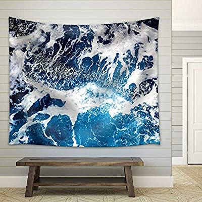 Delightful Artistry, Premium Product, Areal Shot of Deep Blue and Rough Sea with Lot of Sea Spray Fabric Wall