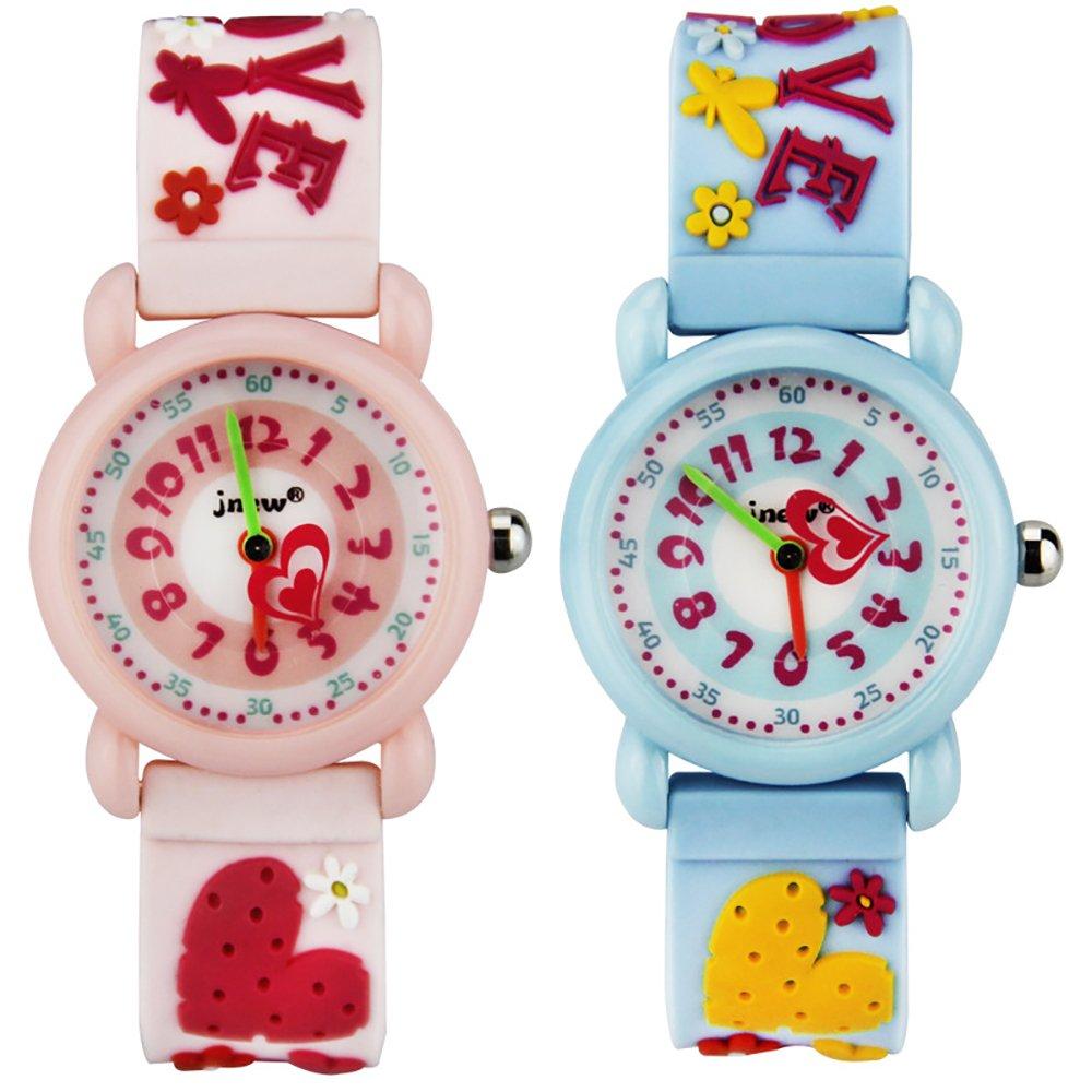 TIDOO Girls Time Machines Analog 3D Cartoon LOVE Heart Shape Silicon Band Watch