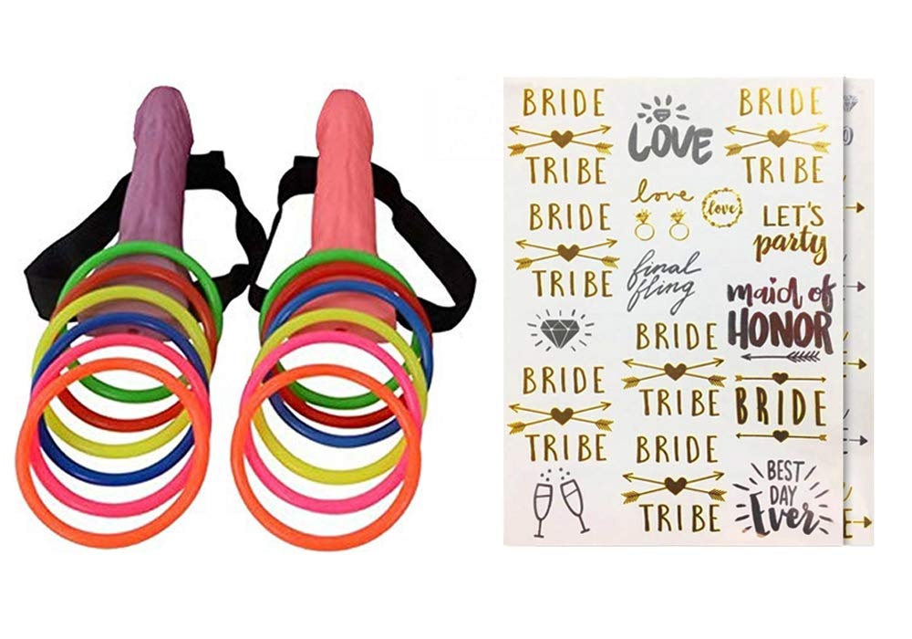 Bachelorette Party Favor Set,Novelty Game Supplies for Hen Night Girls Night,2 Set Ring Toss Hoopla Games,Bachelorette Party Temporary Tattoos(2 Sheets) - Gold and Silver