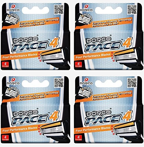 Dorco Pace 4- Four Blade Razor Shaving System- Value Pack - 16 Cartridges (No (16 Cartridge Pack)