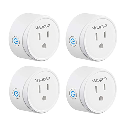 Smart Plug, Vaupan Mini WiFi Outlet Works with Alexa, Google Home IFTTT, Remote Control Smart Socket with Timer Function, No Hub Required, ETL FCC Certified, Only Supports 2.4GHz Network 4 Pack