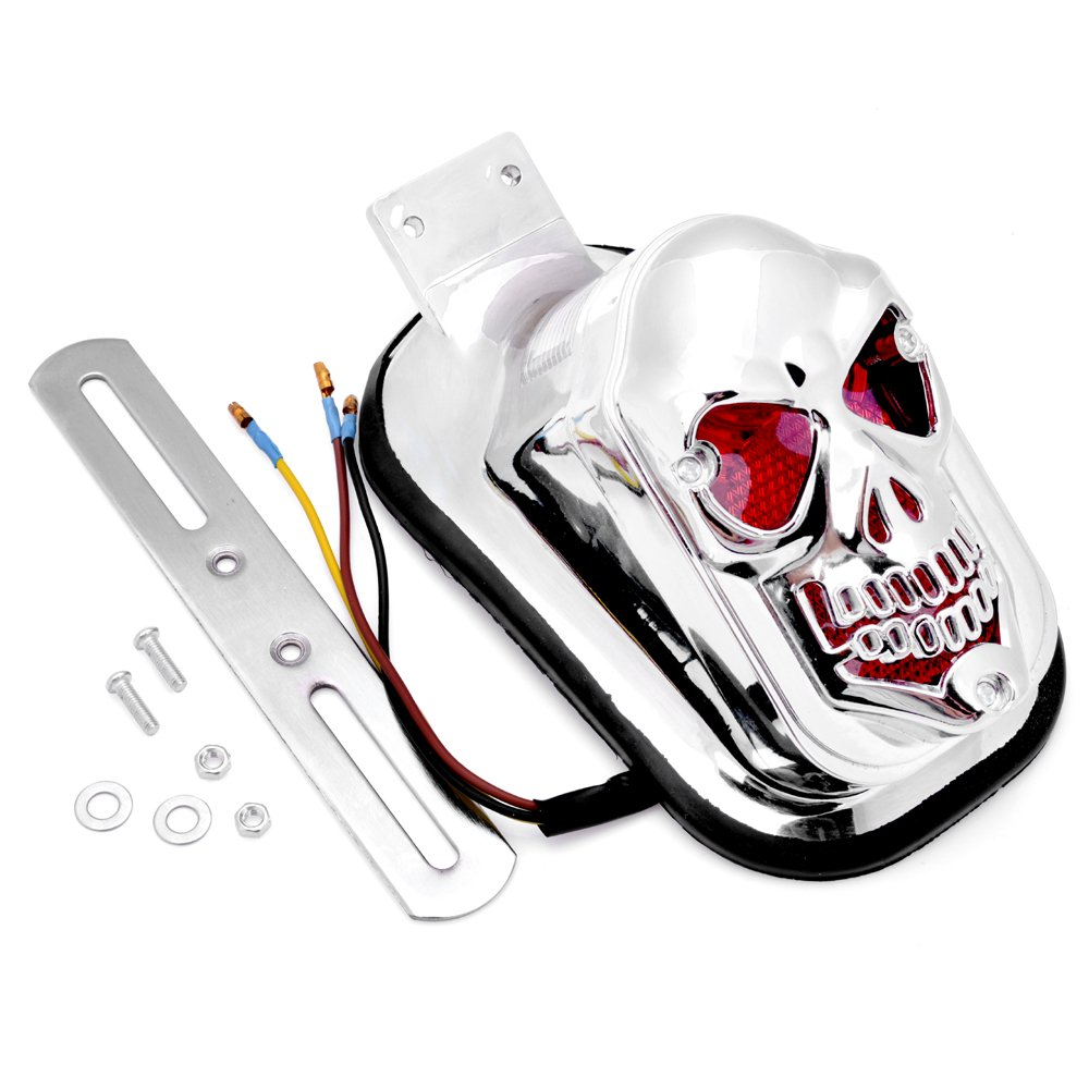 61a9U3vDUgL._SL1000_ amazon com 1x custom chrome plated skull skeleton tombstone tail tombstone tail light wiring diagram at alyssarenee.co