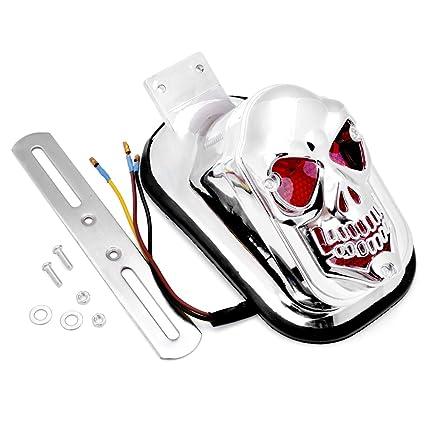 amazon com 1x custom chrome plated skull skeleton tombstone tail rh amazon com