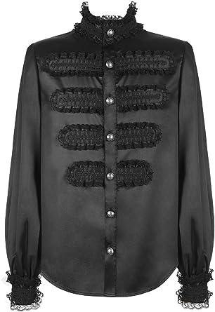 Camisa Negra Brillante Inspiration Militar Hombre Encaje gótico Victoriano Punk Negro Medium: Amazon.es: Ropa y accesorios
