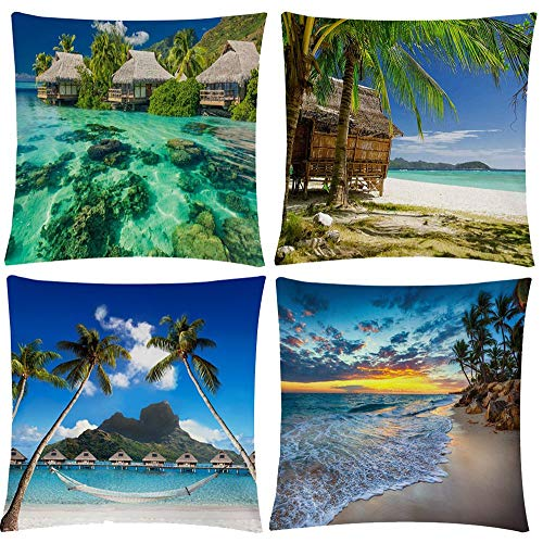 Wilproo Beach Decorative Throw Pillow Covers 18 x 18, Summer Blue Theme Ocean Decorative Pillowcase for Home Sofa Bed Cotton Linen Sturdy Durable with Hidden Zipper Easy to Clean