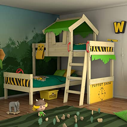 wickey bunk bed crazy jungle loft bed twin bed for children withwickey bunk bed crazy jungle loft bed twin bed for children with slatted bed base and roof, applegreen yellow amazon co uk diy \u0026 tools