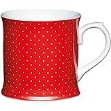 Kitchen Craft - Tazza mug in porcellana a pois, 400 ml, colore: rosso