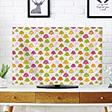 LCD TV Cover Lovely,Winter,Lively Christmas Trees with Different Patterns Snowflakes Polka Dots Stars Chevron Decorative,Multicolor,Diversified Design Compatible 70'' TV