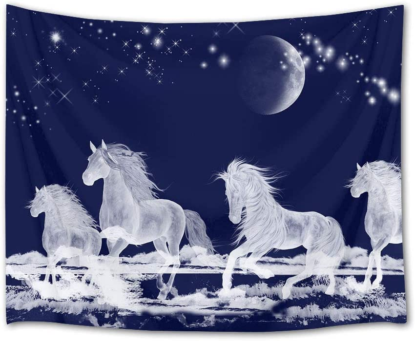 HVEST Galloping Horse Tapestry Horses Running on Snow in Forest Wall Hanging Animal Tapestries for Bedroom Living Room Dorm Party Wall Decor,60Wx40H inches