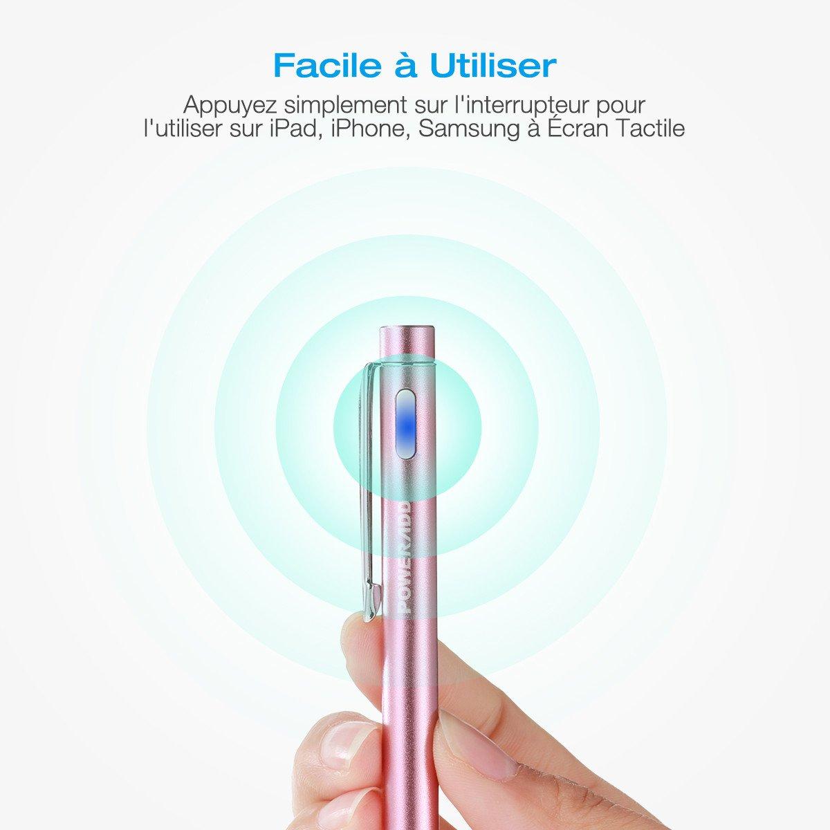 Poweradd Stylus Actif, Haute Précision Stylo Capacitif Universel pour les Appareils iOS / Android / Microsoft à Ecran Tactile, Rose