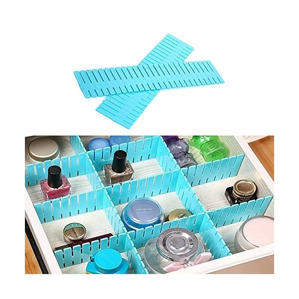 61a9V yB8KL WeFoonLo 8pcs DIY Plastic Drawer Organizer Verstellbare Schubladenunterteiler für ordentliche Schränke, Socken…