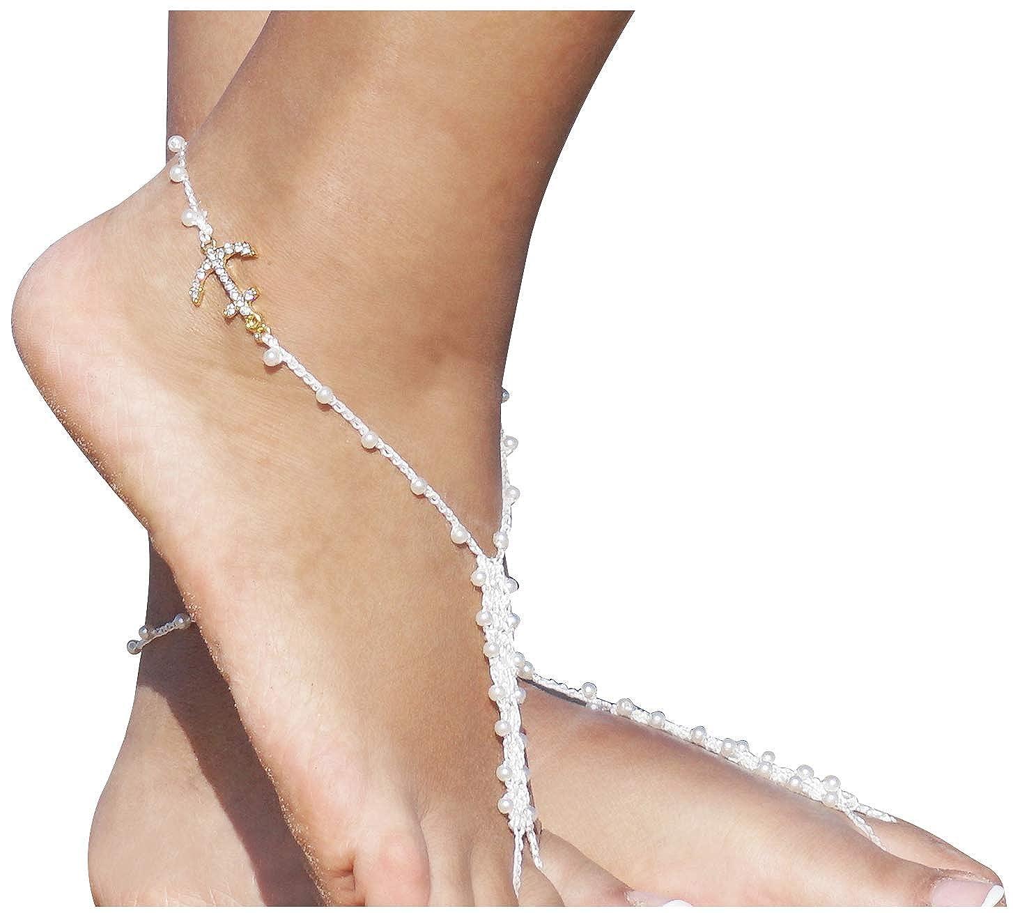 ddaef9e20129 Amazon.com  Bienvenu Beach Party Foot Jewelry Rhinestone Barefoot Sandals  Bridal Accessories One Size  Jewelry