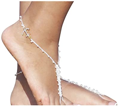 0e792971d Bienvenu Beach Party Foot Jewelry Rhinestone Barefoot Sandals Bridal  Accessories One Size