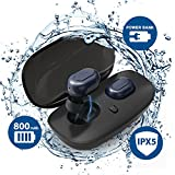 Tiamat True Wireless Earbuds, Bluetooth Headphones, Advanced Mini Bluetooth V4.2 Earphones, IPX5 Waterproof Headset with Upgraded Battery and Charging Case for Samsung iPhone iWatch