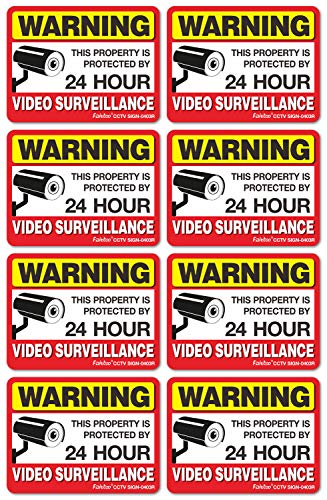Video Surveillance Sign Reflective Sticker (8 Pack) - Decal Self Adhesive 4 x 3 Inches 4 Mil Vinyl Decal - Indoor & Outdoor Use - UV Protected & Waterproof - -