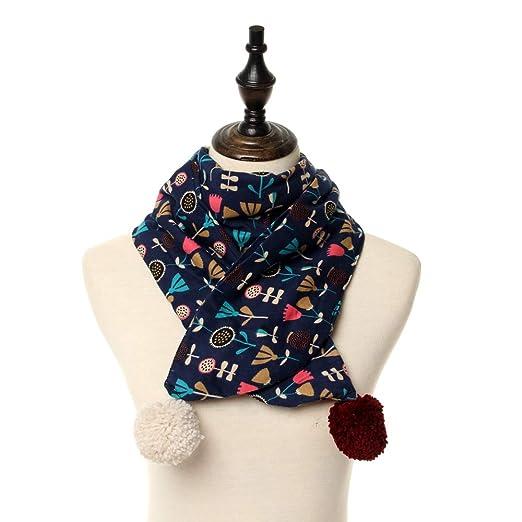 Amazon.com  Long Scarf for Girl Neck Warmer for Kids Flower Pattern (Blue)   Clothing 808cb8c0fd2c