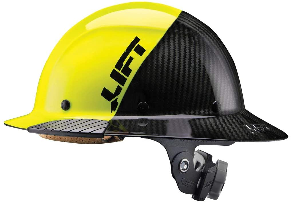 Lift Safety DAX Fifty 50 Carbon Fiber Full Brim Hardhat (Yellow)