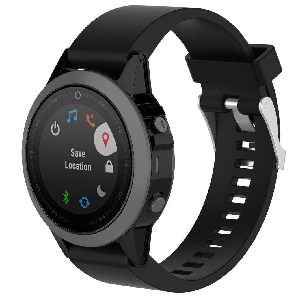 HighlifeS Band Easy Fit 20mm Width Soft Silicone Watch Strap For Garmin Fenix 5S Plus GPS Watch (Black)