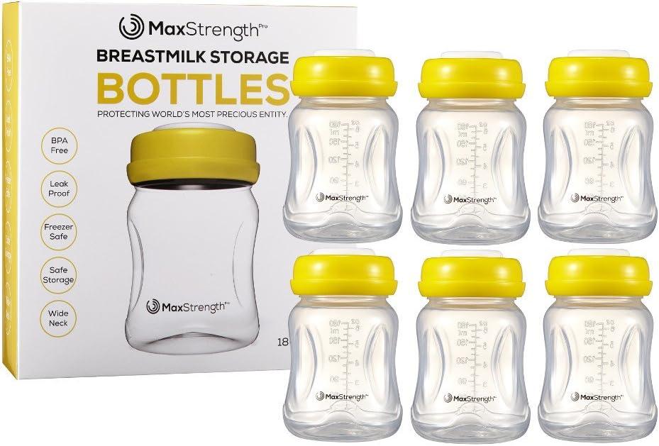 Juego de 6 botellas de leche materna con tapas a prueba de fugas por Max Strength Pro, 180 ml, botellas reutilizables de cuello ancho para la colección de leche materna y de almacenamiento, sin BPA